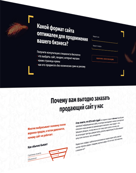 Разработка Landing page, продвижение и реклама в веб студии Феникс
